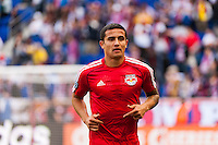 Tim Cahill (17) of the New York Red Bulls. The New York Red Bulls defeated the Philadelphia Union 2-1 during a Major League Soccer (MLS) match at Red Bull Arena in Harrison, NJ, on March 30, 2013.