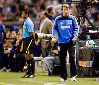San Jose Earthquake head coach Frank Yallop yells out directions to his team. The LA Galaxy and the San Jose Earthquakes played to a 2-2 draw at Home Depot Center stadium in Carson, California on Thursday July 22, 2010.