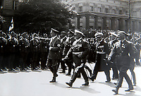 BNPS.co.uk (01202 558833)<br /> Pic: Dickins/BNPS<br /> <br /> Ricthofen(right) with Hitler at the huge Nazi victory parade for the Condor Legion in the heart of Berlin in June 1939.<br /> <br /> The unseen personal photo album of Field Marshal Wolfram von Richthofen, cousin to the legendary Red Baron, which gives an unprecedented insight into his military career in the Third Reich, has been rediscovered.<br /> <br /> Wolfram served in the Red Baron's squadron in the WW1, went on to design the 'Jericho trumpet' of the infamous Stuka Bomber between the wars, before leading the Condor Legion in the Spanish Civil War.<br /> <br /> After the outbreak of WW2 the fascinating album shows Richthofen's lead roll in Operation Barbarossa - the Nazi's suprise invasion of Communist Russia and their race to conquer the vast country before the onset of the notorious Russian winter.<br /> <br /> The two albums were taken from Berlin by a British soldier at the end of the Second World War who kept it for 60 years before it was passed into the hands of a private collector.<br /> <br /> Dickins auctions are selling the historic albums with a &pound;20,000 estimate on 31st March.