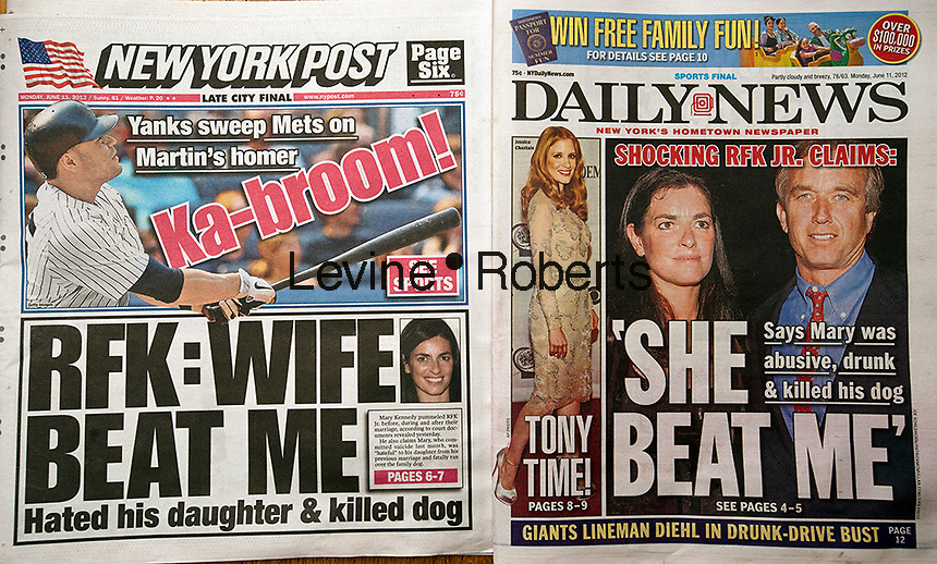 Front pages of the New York Daily News and the New York Post on Monday, June 11, 2012 report on even more revelations about the death of Mary Richardson Kennedy, the wife of Robert F. Kennedy Jr. Her body was discovered on her Bedford, NY property with media reports that it was a suicide. (© Richard B. Levine)