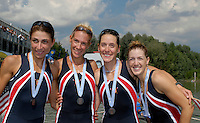 Ottensheim, AUSTRIA.  A  Final,  LM4X, Medals, USA, Bow Hannah MOORE, Rebecca SMITH, Wendy TRIPICIAN and Elizabeth PETERS, Silver Medallist, at the 2008 FISA Senior and Junior Rowing Championships,  Linz/Ottensheim. Sunday,  27/07/2008.  [Mandatory Credit: Peter SPURRIER, Intersport Images] Rowing Course: Linz/ Ottensheim, Austria
