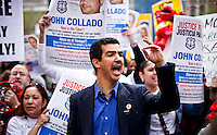 New York City Council member Ydanis Rodriguez (C ) takes part in a protest with Occupy Wall Street members against police brutality in New York, United States. 24/03/2012.  Photo by Eduardo Munoz Alvarez / VIEWpress.