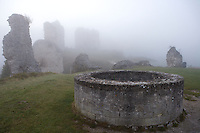 LES ANDELEYS, FRANCE - OCTOBER 10: Well with remains of the outer wall of the Chateau Gaillard in a fog, on October 10, 2008 in Les Andelys, Normandy, France. The chateau was built by Richard the Lionheart in 1196, came under French control in 1204 following a siege in 1203. It was later destroyed by Henry IV in 1603 and classified as Monuments Historiques in 1852. (Photo by Manuel Cohen)