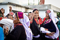 Women from villages in the Munsyari area in India's Kumaon Himalayas dance at the Nanda Devi festival.