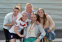 20170514 - LILLE , FRANCE : LOSC's Jana Coryn pictured celebrating with her family the Championship title after their win in the 21 st competition game between the women teams of Lille OSC and La Roche Sur Yon in the 2016-2017 season of the Second Division A D2F A at stade Lille Metropole , Saturday 14th May 2017 ,  PHOTO Joke Vuylsteke | Sportpix.Be