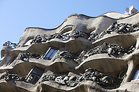 Undulating balconies, La Pedrera (Casa Milà), Barcelona, Catalonia, Spain, built by Antoni Gaudí (Reus 1852 ? Barcelona 1926), 1906 - 1910, for the Milà Family, with Josep Maria Jujol as architect collaborator and with Joan Beltran as a plaster. One of the main Gaudi residential buildings. Picture by Manuel Cohen
