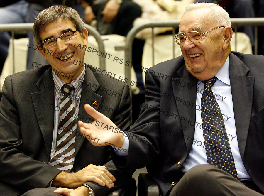 Kosarka, Euroleague season 2007-08.Partizan Vs. Panathinaiskos.Jordi Bertomeu, CEO of Euroleague, left and Borislav Bora Stankovic, honour president of FIBA, right.Beograd, 07.11.2007..foto: Srdjan Stevanovic