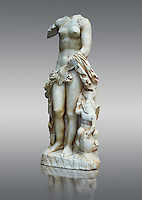 a 2nd century Roman Copy Statue of Aphrodite or Venus, . This sculpture depicts Aphrodite in the typical pose known as the Modest Aphrodite style  and is a copy of a lost 4th century BC Aphrodite of Cnidos sculpture by Athenian sculpture Praxiteles. Merida Archaeological Museum, Spain