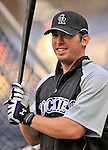 16 August 2008: Colorado Rockies' third baseman Garrett Atkins prepares to take batting practice prior to facing the Washington Nationals at Nationals Park in Washington, DC.  The Rockies defeated the Nationals 13-6, handing the last place Nationals their 9th consecutive loss. ..Mandatory Photo Credit: Ed Wolfstein Photo