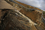 The road of Viso del Marques to San Lorenzo de Calatrava in Ciudad Real is seen broken on January 01 2010 in the heavy rains of the last days. (c)Pedro ARMESTRE