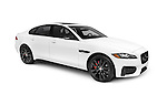 White 2016 Jaguar XF S Luxury Sport sedan, luxury car isolated on white background with clipping path