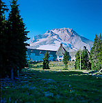 Timberline Lodge as viewed from the meadow below, with Mt. Hood looming behind.  The year round ski area is visible in the distance.  Timberline Lodge is a mountain lodge on the south side of Mount Hood in Oregon, about 60 miles east of Portland. Built in the late 1930s as a Works Progress Administration project, this National Historic Landmark sits at an elevation of 5,960 feet, within the Mount Hood National Forest and is accessible through the Mount Hood Scenic Byway. It is a popular tourist attraction, drawing more than a million visitors annually. It is noted in film for serving as the exterior of the Overlook Hotel in The Shining.