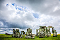 Stonehenge and looming storm, SalisburyPlain, England. United Kingdom  Ancient stone monument ca.3100 BC  World Heritage Site
