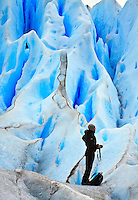 A photographer on the blue ice of Glacier Perito Moreno, in Parque Nacional los Glaciares, Argentina.