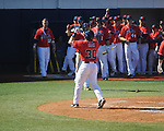 Ole Miss' Will Allen (30) hits a two run home run vs. Rhode Island at Oxford-University Stadium in Oxford, Miss. on Sunday, February 24, 2013. Ole Miss won 5-3 to improve to 7-0.