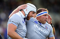Dave Attwood of Bath Rugby is congratulated on his try by team-mate Henry Thomas. Pre-season friendly match, between Leinster Rugby and Bath Rugby on August 26, 2016 at Donnybrook Stadium in Dublin, Republic of Ireland. Photo by: Patrick Khachfe / Onside Images