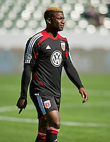 CARSON, CA - March 18,2012: DC United defender Brandon McDonald (4) before the LA Galaxy vs DC United match at the Home Depot Center in Carson, California. Final score LA Galaxy 3, DC United 1.