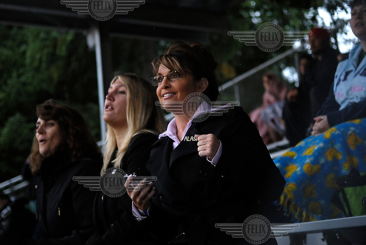 Sarah Palin, Governor of Alaska, at a football game in Juneau. In 2008 she was nominated as the Republican candidate for Vice President.