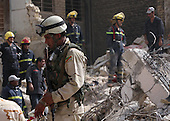 BAGHDAD, IRAQ: BAGHDAD, IRAQ:  Iraqi Police inspect the destruction after a bomb explosion in the Alawi neighborhood, a Shia area in Baghdad...Bombs destroyed seven buildings in three areas of the Iraqi capital Baghdad, killing at least 28 people and wounding 75...photo by Seerwan Aziz