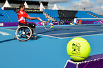 London, England 26/08/2012 - Philippe Bedard of Wheelchair Tennis Canada hits the ball during a training session at the London 2012 Paralympic Games in Eton Manor. (Photo: Phillip MacCallum/Canadian Paralympic Committee)