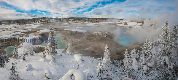 Norris Geyser Basin in winter, Yellowstone National Park, Wyoming, USA