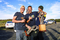 Phillip Island, Victoria, Australia Thursday 8th November 2001. Mick Fanning (AUS), Darren Handley (AUS) and Joel Parkinson (AUS) celebrate Joel's Junior World Title victory won earlier in the afternoon. Fanning and Parkinson had fought out a close final with Joel getting the win right on the siren. Adrian Buchan (AUS) and Kirk Flintoff (AUS) finished =3rd. <br /> <br /> The US$45,000 event was attended by surfers from seven nations and showcased the Top 48 junior surfers from around the globe.<br /> <br /> Fanning has since gone on to win three World Titles, Parkinson has one beside his name and Darren Handley has shaped surfboards for surfers who have claimed at least 10 World Titles. Photo: joliphotos