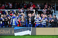 Bath Rugby supporters celebrate after the match. Aviva Premiership match, between Gloucester Rugby and Bath Rugby on October 1, 2016 at Kingsholm Stadium in Gloucester, England. Photo by: Patrick Khachfe / Onside Images