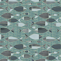 Floating Fish, a glass waterjet and hand cut mosaic shown in Serpentine, Labradorite, Tourmaline, and Opal, is part of the Erin Adams Collection for New Ravenna Mosaics.<br />
