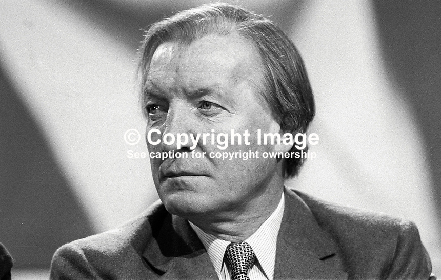 Charles Haughey, TD, Prime Minister, Taoiseach, Rep of Ireland, on platform  during Fianna Fail Ard Fheis, February 1981. 198102000032CH7..Copyright Image from Victor Patterson, 54 Dorchester Park, Belfast, UK, BT9 6RJ..Tel: +44 28 9066 1296.Mob: +44 7802 353836.Voicemail +44 20 8816 7153.Skype: victorpattersonbelfast.Email: victorpatterson@me.com.Email: victorpatterson@ireland.com (back-up)..IMPORTANT: If you wish to use this image or any other of my images please go to www.victorpatterson.com and click on the Terms & Conditions. Then contact me by email or phone with the reference number(s) of the image(s) concerned.