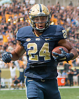 Pitt running back James Conner scores on a 13-yard touchdown run. The Pitt Panthers football team defeated the Youngstown State Penguins 45-37 on Saturday, September 5, 2015 at Heinz Field, Pittsburgh, Pennsylvania.