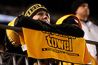 PITTSBURGH, PA - NOVEMBER 06: A Pittsburgh Steelers fan watches the final minutes of the game against the Baltimore Ravens during the game on November 6, 2011 at Heinz Field in Pittsburgh, Pennsylvania.  (Photo by Jared Wickerham/Getty Images)