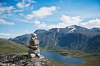 Trail marking cairn, Jotunheimen national park, Norway
