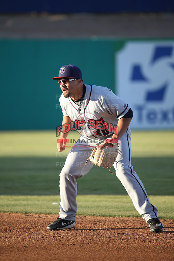 Nick Tanielu (30) of the Lancaster JetHawks in the field at second base during a game against the High Desert Mavericks at Heritage Field on April 23, 2016 in Adelanto, California. High Desert defeated Lancaster, 10-9. (Larry Goren/Four Seam Images)