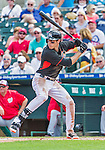 10 March 2015: Miami Marlins outfielder Christian Yelich in Spring Training action against the Washington Nationals at Roger Dean Stadium in Jupiter, Florida. The Marlins edged out the Nationals 2-1 on a walk-off solo home run in the 9th inning of Grapefruit League play. Mandatory Credit: Ed Wolfstein Photo *** RAW (NEF) Image File Available ***