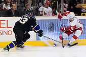 Danny Cleary (Detroit Red Wings, #11) vs Willie Mitchell (Los Angeles Kings, #33) during ice-hockey match between Los Angeles Kings and Detroit Red Wings in NHL league, February 28, 2011 at Staples Center, Los Angeles, USA. (Photo By Matic Klansek Velej / Sportida.com)
