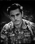 "Lieutenant Jan Aqa, Afghan National Army, is seen in Kabul 30 August 2012. This portrait was shot on a 5x4 Linhof Technika IV, circa 1959, and a Schneider Kreuznach 270mm lens, circa 1952, with front tilt, and is part of a series entitled ""Putting an Afghan face on the war."" (John D McHugh)"