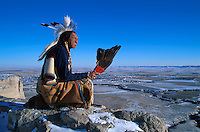 Lakota Elder Ron Hawks at Scotts Bluff National Monument, Nebraska , USA
