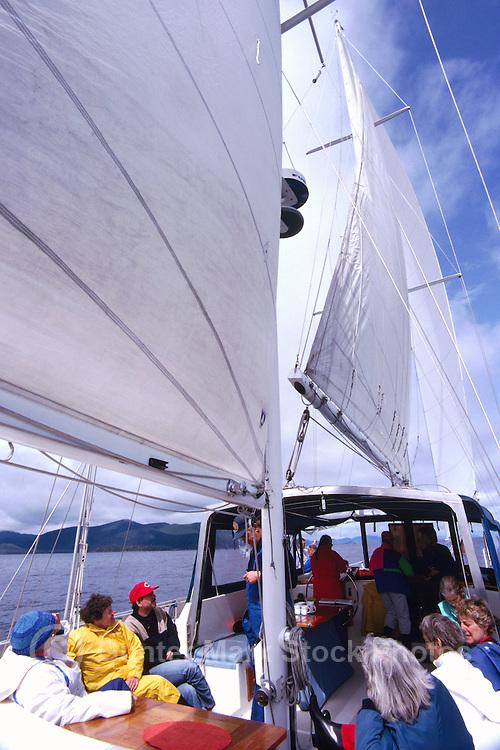 Queen Charlotte Islands (Haida Gwaii), Northern BC, British Columbia, Canada - People sailing and exploring by Sailboat
