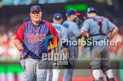 8 June 2013: Minnesota Twins Manager Ron Gardenhire leaves the mound after a pitching change during a game against the Washington Nationals at Nationals Park in Washington, DC. The Twins edged out the Nationals 4-3 in 11 innings. Mandatory Credit: Ed Wolfstein Photo *** RAW (NEF) Image File Available ***