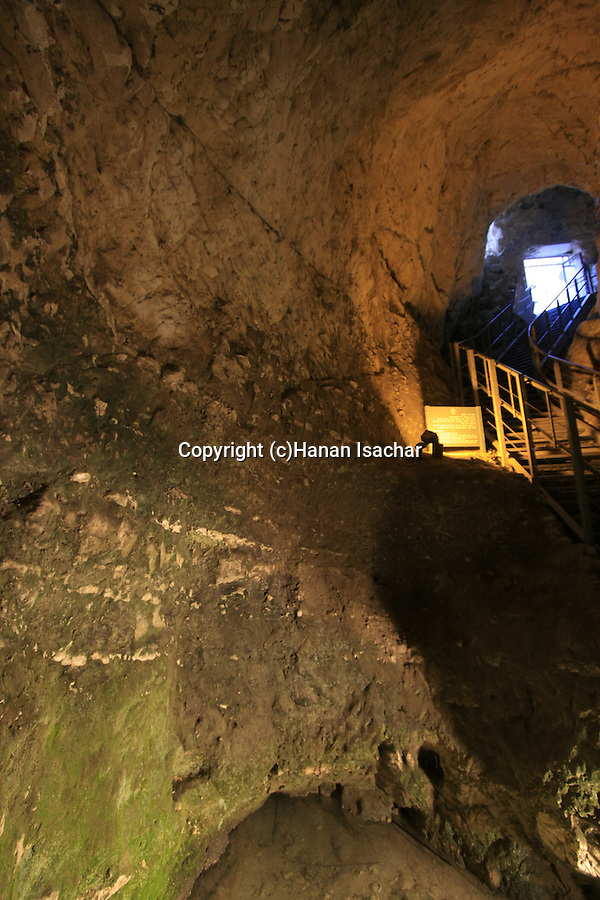 Israel, Jezreel valley. Water system from the reign of King Ahab in Tel Megiddo, a World Heritage Site