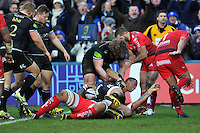 Anthony Watson of Bath Rugby scores a try in the second half. European Rugby Champions Cup match, between Bath Rugby and RC Toulon on January 23, 2016 at the Recreation Ground in Bath, England. Photo by: Patrick Khachfe / Onside Images