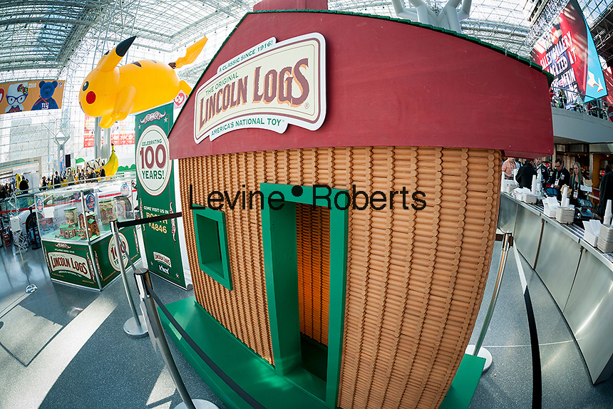 K'Nex Lincoln Log house at the 113th North American International Toy Fair in the Jacob Javits Convention center in New York on Sunday, February 14, 2016.  Lincoln Logs celebrates its 100th anniversary this year. The seven foot tall display contains over 6000 logs  (© Richard B. Levine)
