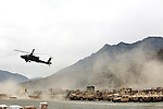 An Apache helicopter takes off from Forward Operating Base Bostick in NorthEastern Afghanistan.