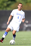 04 September 2011: Duke's Alex Sauciuc. The Southern Methodist University Mustangs defeated the Duke University Blue Devils 1-0 in overtime at Koskinen Stadium in Durham, North Carolina in an NCAA Division I Men's Soccer game.