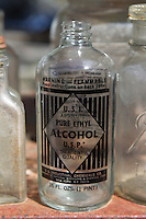 old glass alcohol bottle