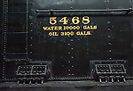 Train #5468 indicating the number of gallons of water it would hold and the amount of oil for the steam engine