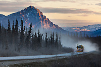 Truck on the James Dalton Highway, Mount Dillon in the distance, Brooks mountain range, arctic, Alaska.