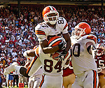 Cleveland Browns wide receiver Andre? Davis (87) celebrates catch that won the game on Sunday, September 21, 2003, in San Francisco, California. The Browns defeated the 49ers 13-12.