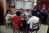 December 1976. Plains, Georgia. Dinner time for family of farmers in Plains.