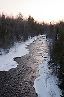 Winter scenic landscape of the Ontonagon River in Michigan's Upper Peninsula.